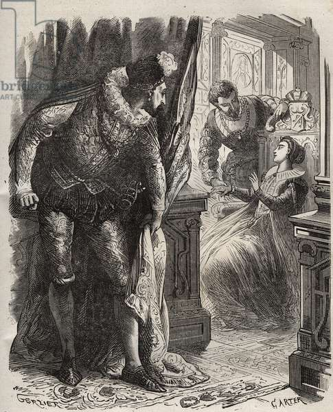 """Henry (Henry) Stuart dit Lord Darnley (1545-1567) surprised his wife, Queen Mary (Mary) Iere Stuart (1542-1587), with his private secretary, David Rizzio (d. 1566). Engraving from 1871 in """"Histoire Des Cocuses Celebres"""""""" by Henry de Kock (1819-1892)."""