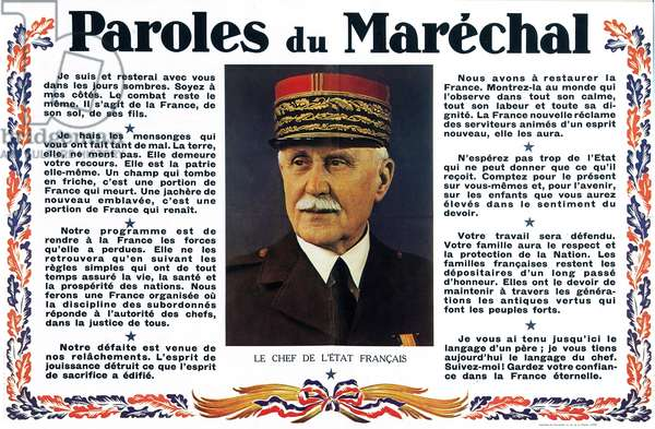 """Propaganda poster of French marshal Philippe Petain during the war, c. 1941 - Vichy Regime - propaganda poster """""""" Words of the Marechal"""""""""""