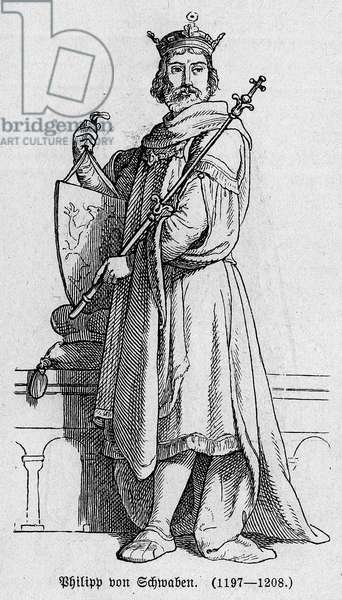 "Portrait of Philip I of Swabia did Philip of Hohenstaufen (1176-1208), German Emperor, King of the Romans and King of Italy. Engraving in """" Kaiser, Konig und Papft"""" by Richard Roth, 1895."