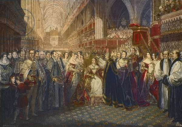 Coronation of Queen Victoria at Westminster Abbey, London on 28 June 1838 - The coronation of Queen Victoria, Queen of Great Britain and Ireland (1819-1901), at Westminster Abbey, 1838. engraving after the painting of Edmund Thomas Parris.