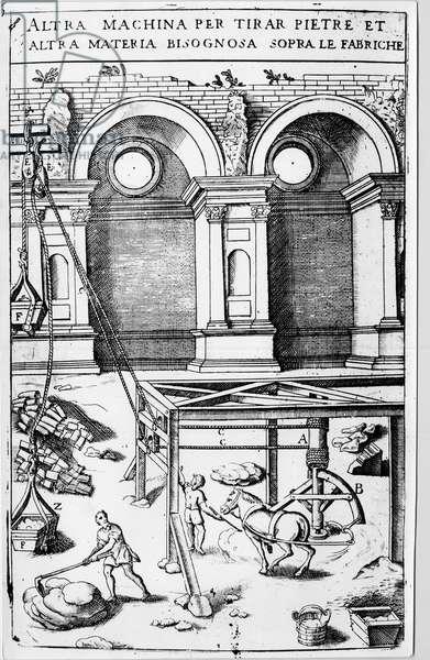 """Altra machina per tirar pietre et altra materia bisognosa sopra le fabriche. in """"Novo teatro di machine et edificii par vane et sawdust operationi"""""""", Padova 1607 by Vittorio Zonca (1568-1602)"""