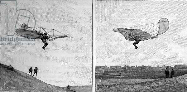 """The flying aircraft of Otto Lilienthal (1848-1896), German aeronautics pioneer, in two different positions (from an instant photograph). Engraving in """""""" La Nature: revue des sciences et de leurs applications aux arts et a l'industrie"""""""" of 3 February 1894."""