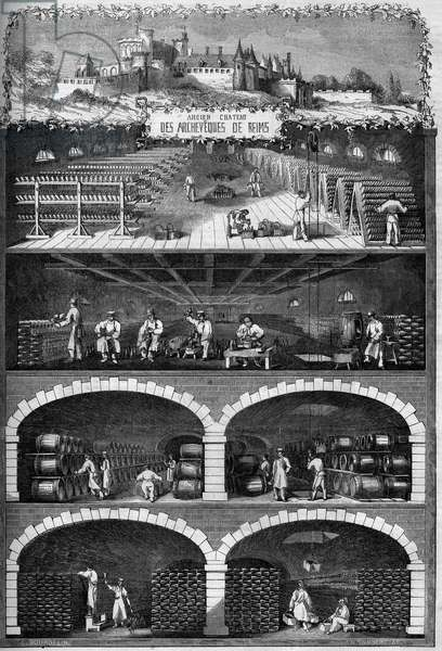 """Viticulture: view of the champagne cellars in the basements of the old castle of the archeveques of Reims, Marne (51), 1862. Engraving in """""""" Le Monde Illustrée"""""""" n°260 of April 5, 1862."""