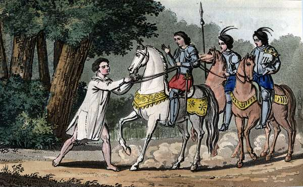Charles VI caught in madness in the forest of Le Mans - Designed and engraved by Ambroise Tardieu in 1825.