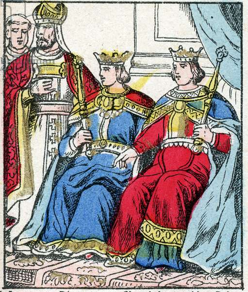 """Louis III (v.863 - 882) and Carloman (? - 884) are sacred and crowns on the same day (in 879) in the Abbey of Ferrieres in Gatinais. engraving in """"Histoire de France from the most remote times to the present day"""""""" drawing by Jules Pacher. Patriotic imagery of Pont-a-Mousson. Late 19th century. Private collection."""