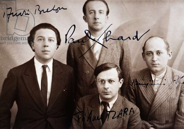 André Breton, Paul Eluard, Tristan Tzara and Benjamin Péret - group portrait with signatures, 1932. Rights reserved.