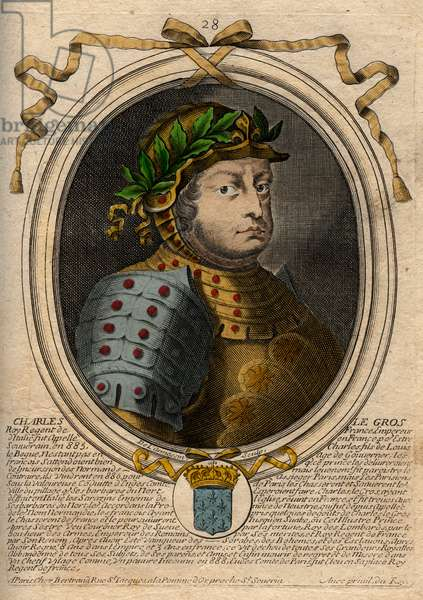 Carolingian Dynasty: Portrait of Charles III Le Gros (839-888) King of the Franks - Charles III the Fat - engraving from 'Les Augustes Representations de tous les Kings de France from Pharamond to LouisXIV', Paris, 1679 de Larmessin (family of engravers) (1600-1799)
