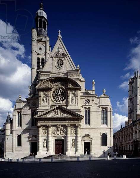 View of the Facade of the church of Saint-Etienne du Mont, Place Sainte-Genevieve (Saint Etienne du mont) in Paris in the 5th arrondissement (the same as Leemage agency).
