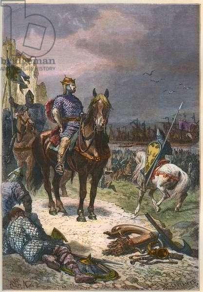 William the Conquerant (William II of Normandy or William I of England, 1027-1087) on the coast of England - William the Conqueror reviewing his army on his arrival in England, 1066 -