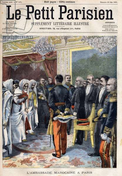 """Visit of the Moroccan embassy received by the President of France Emile Loubet (1838-1929) in Paris,  in """" Le Petit Parisien"""""""" on 30/06/1901 (engraving)"""