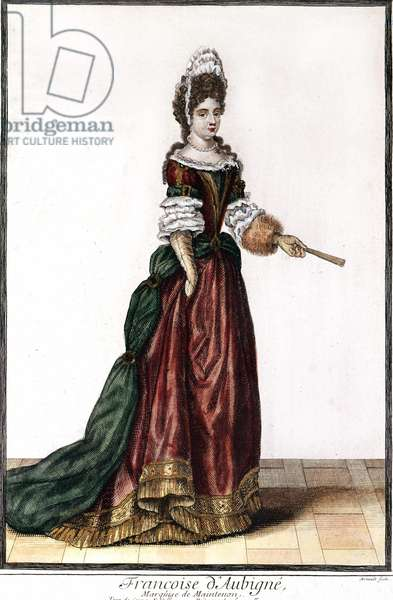 Françoise d'Aubigné, Marquise (Madame) de Maintenon (Niort, 1635 at Saint-Cyr, 1719), French lady. Engraving from the end of the 18th century.
