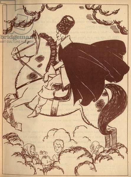 "Death on his horse. Anonymous engraving in ""Une semaine du petit elf ferme l'oeil"""", tale by Hans Christian Andersen (1805-1875), 1940."