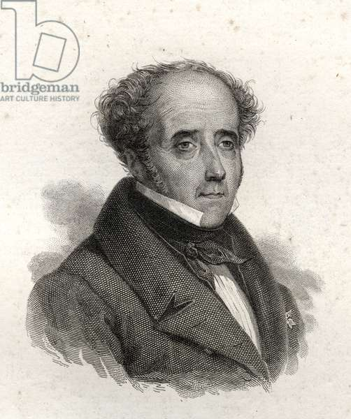 Portrait of Chateaubriand, engraving of the 19th century