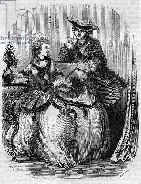 """Louis XV et Madame de Pompadour, Jeanne Antoinette Poisson (1721-1764) (Marquise de Pompadour) - in """""""" Histoire de France"""""""" by L.-P. Anquetil, 1851"""