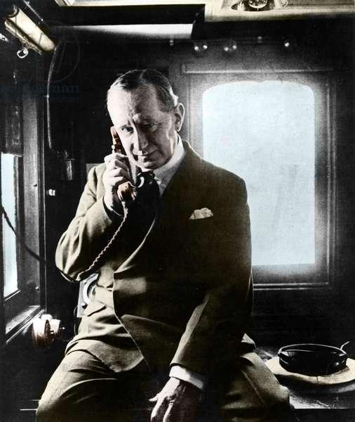 Guglielmo Marconi (1874-1937), Italian physicist, inventor of wireless telegraphy, aboard the Electra, 1930.