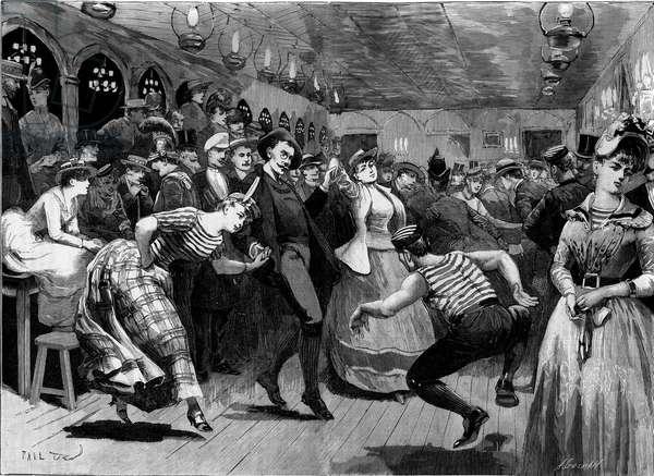 "The Thursday evening ball at ""La Grenouillere"" around Paris, 1885. Engraving in """" Le Monde Illustré"", 11 July 1885."