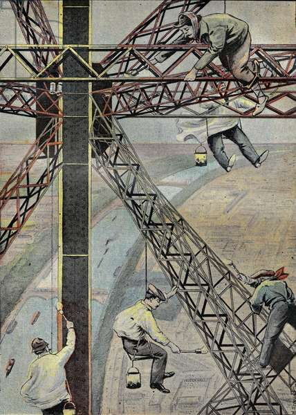 "Painters at work, suspended 200 metres above Paris, to paint the Eiffel Tower in 1899. Engraving in """" Le Pelerin"""" 16/07/1899."