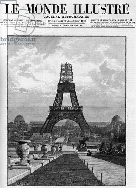 Construction of the Eiffel Tower (176 metres) in 1888 in Paris.