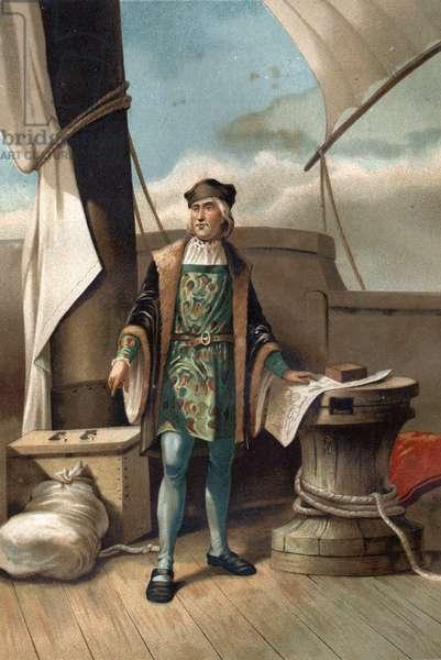 "portrait of Christopher Columbus in Italian Cristoforo Colombo Navigator of Genoese origin (Genoa, 1451 in Valladolid, 1506). from """" La Ciencia y sus Hombres"""" by Louis Figuier. Barcelona 1881"