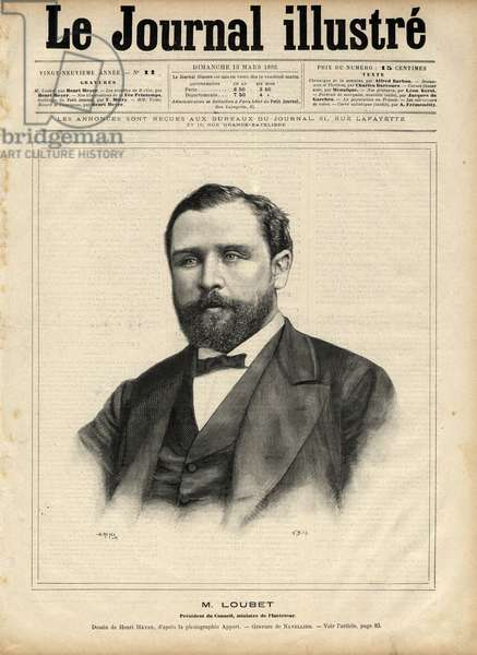"""Emile Loubet (1836-1929) in 1892 (president of the council - minister of the interior) Engraving by Navellier in """"The Illustrous Journal"""" of 1892"""