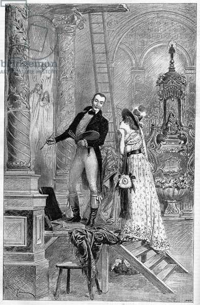 Representation of the Tosca, drama by Victorian Sardou at the Theatre de la Porte Saint Martin in 1887. Here Act 1, the Church of St. Andrea with Dumeny and Henriette Rosine Bernard called Sarah Bernhardt (1844-1923)
