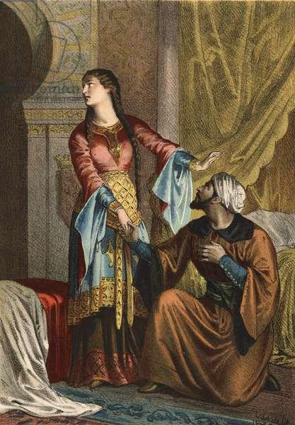 """Omar, Muslim prince, making a declaration of love to Sancha Ona, Countess of Castile. in """"El Culto de la Hermosura"""""""" by Juan Justo Huguet, Molinas Hermanos editores, 1880 (volume 1) & 1881 (volume 2)."""