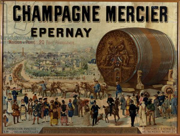 Big barrel of champagne exhibits at the Expo Universelle de 1889 - Advertising poster for Mercier champagne, late 19th century