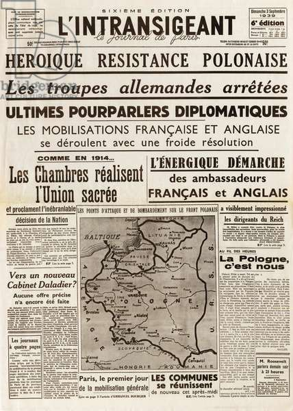 Second World War (1939-1945) - World War II (WWII or WW2): The intransigent of September 3, 1939 - Polish Heroic Resistance - German troops arrested. Ultimate diplomatic talks. French and English mobilizations