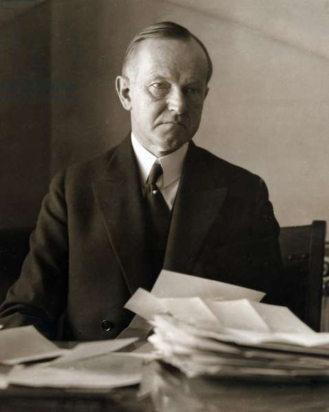 Portrait of Calvin Coolidge (1872-1933) 30th President of the United States of America (b/w photo)