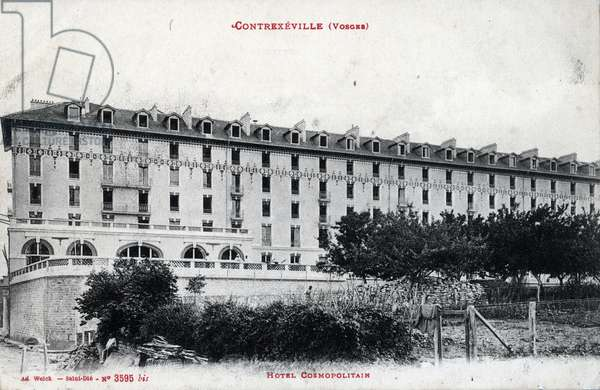 Hotel Cosmopolitain, a Contrexeville, Vosges - 1910s, postcard. France, 20th century.