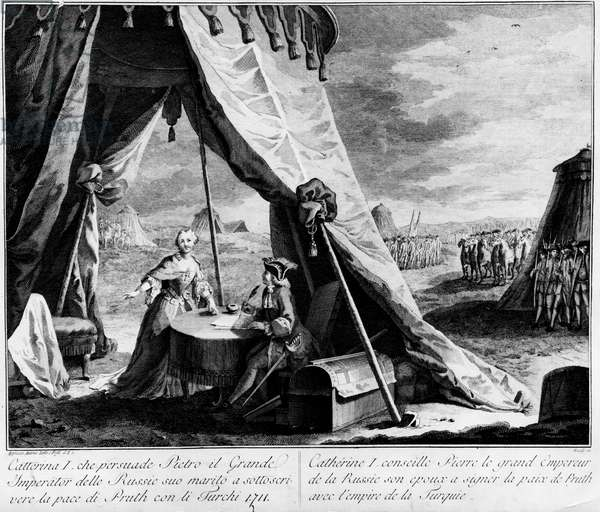 Peace of the Pruth (1711): Catherine Iere of Russia advises her wife Peter I the Great, Emperor of Russia, to sign the peace of Pruth in 1711 with the empire of Turkey