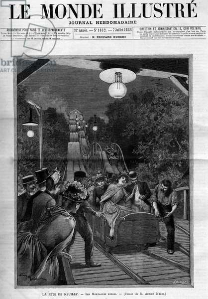 """Rollercoaster, at the feast of Neuilly sur Seine, July 1888. Cover of the newspaper """"The Illustrous World""""""""."""