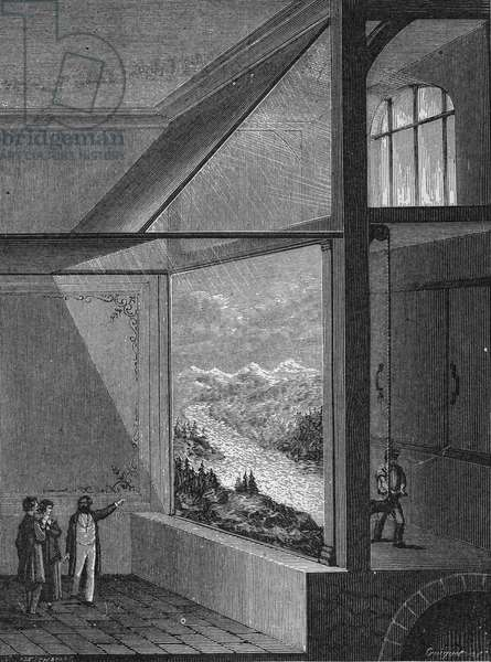 """Louis Daguerre performed a demonstration of the diorama and the mode of change of painting, 1822. In"""" Album de la Science"""""""", Éditions Jouvet, 1896."""