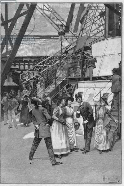 "Tourists near the lift of the first platform of the Eiffel Tower in Paris, 1889. Engraving in """" Le Monde Illustrée"""" n°1693 of 7 September 1889."