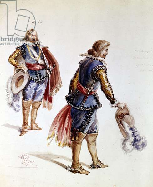 Costumes for Victor Hugo's Ruy Blas. Drawing by Albert from 1872. Maison Victor Hugo, Paris.