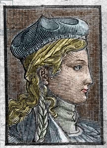 Portrait of Brunehaut or Brunehilde (ca. 534 -613) wife of Sigebert I.