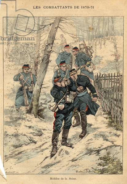 "French Armee: mobiles de la Seine - Engraving by Maurice Pallandre in ""The fighters of 1870-71"""" by the commander Leonce Rousset (1850-1938) - Franco-German War"""" (1870-1871) - Franco Prussian War - (Deutsch-Franzosischer Krieg)"