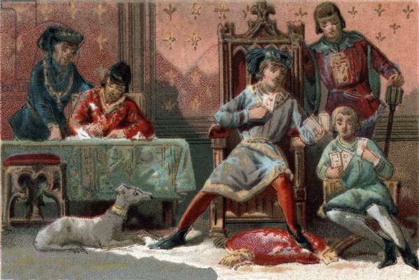 For distraction, the King of France Charles VI (1368-1422) used to play cards. Chromolithography around 1890.