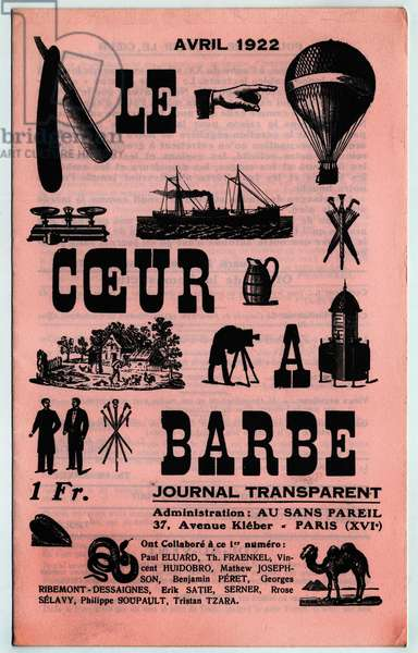 """Cover of issue 1 of the Dadaiste newspaper """""""" Le Coeur à barbe"""""""" published by Tristan Tzara in Paris in 1922."""