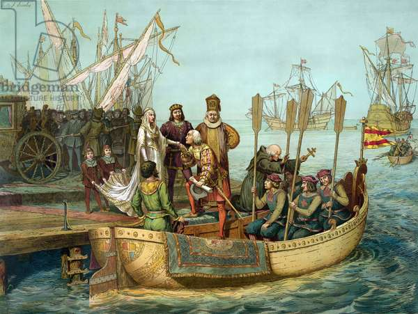 The first trip: Christopher Columbus greeting Queen Isabella of Castile to the port of Palos before departure in 1492. Engraving 19th century