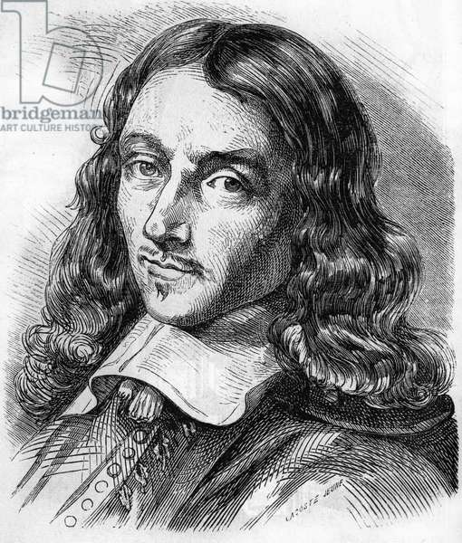 Portrait of Claude Perrault (1613 - 1688) French architect, physician and physicist. Engraving from 1866.