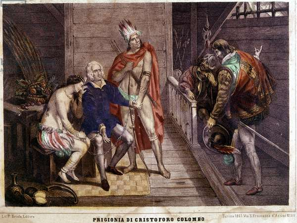 Christopher Columbus (Colombo) chains in 1500 on his return to Spain - Italian engraving of 1861