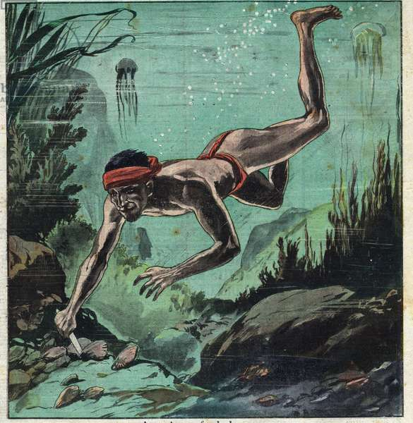 """A pearl researcher risking his life in the tropical seas of Ceylon and Polynesia to supply eleganties with necklaces and jewelry. Illustration taken from """""""" Le Petite Journal"""""""" 11/03/1923 Private collection."""