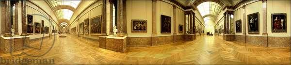 Louvre Museum. Central Allee; Italian Renaissance painting.