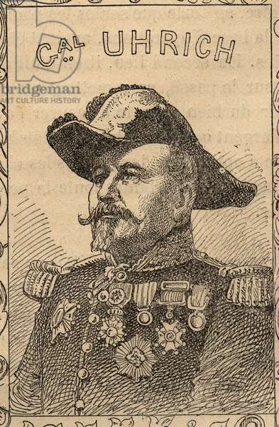 "Portrait of French general Jean-Jacques Uhrich (1802-1886) - engraving in ""The fighters of 1870-71"" by the commander Leonce Rousset (1850-1938) - Franco-German war"""" (1870-1871) - Franco Prussian War - (Deutsch-Franzosischer Krieg)"