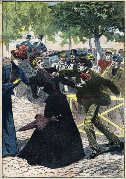 Assassination of the Impress Elizabeth of Austria (Sissi) by the Italian anarchist Luccheni in Geneva in 1898. Illustration from 1898. Private Collection - The Assassination of Empress Elisabeth of Austria (Sissi) by Italian anarchist Luigi Lucheni, in Geneva, 1898, Engraving