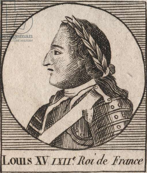 "Portrait of Louis XV (1710-1774) dit le Bien Aime, roi de France 1715 à 1774 - Louis XV, known as Louis the Well beloved, king of France - engraving from ""Instruction sur l'Histoire de France"""" by Charles Constant Le Tellier 1821"