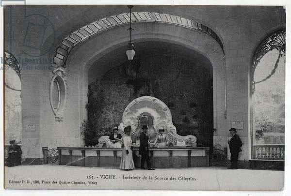 Interior of the source of the Celestins, Vichy, Allier - 1910s, postcard. France, 20th century.