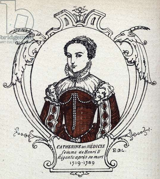 Portrait of Catherine de Medicis (Caterina de Medici) (1519-1589) Queen of France. Engraving from 1914. Private collection.