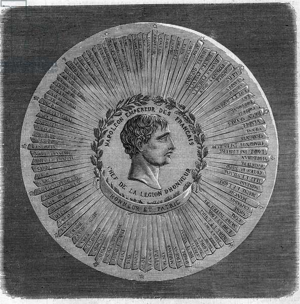 "Great seal of Napoleon I Bonaparte (1769-1821) in 1804: """" Napoleon Emperor of the French, head of the Legion of Honour. Honor and Fatherland"". Engraving in """" The Illustrious Universe"""", 1868. Private collection."